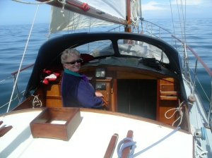 Linda at Helm
