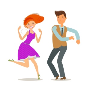 Couple dancing. Dance party concept. Cartoon vector illustration